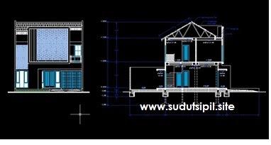 Gambar Kerja Autocad Rumah Tinggal 2 Lantai Download Gratis Sudut Sipil