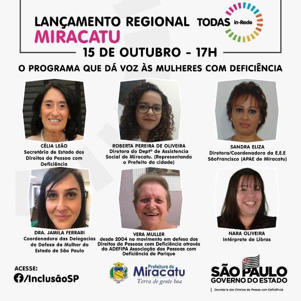 Lançamento virtual do TODAS in-Rede com a cidade de Miracatu neste 15/10