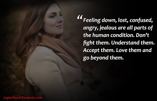 Feeling down, lost, confused, angry, jealous are all parts of the human condition. Don't fight them. Understand them. Accept them. Love them and go beyond them.