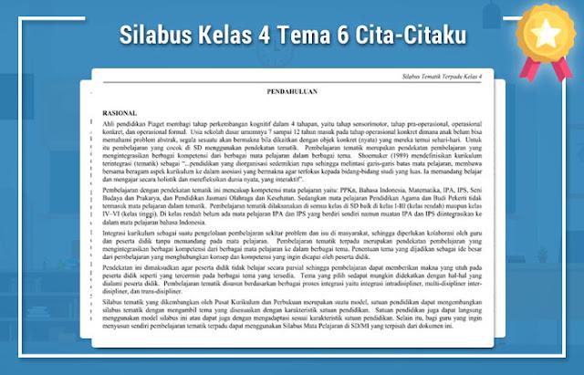 Silabus Kelas 4 Tema 6 Cita-Citaku