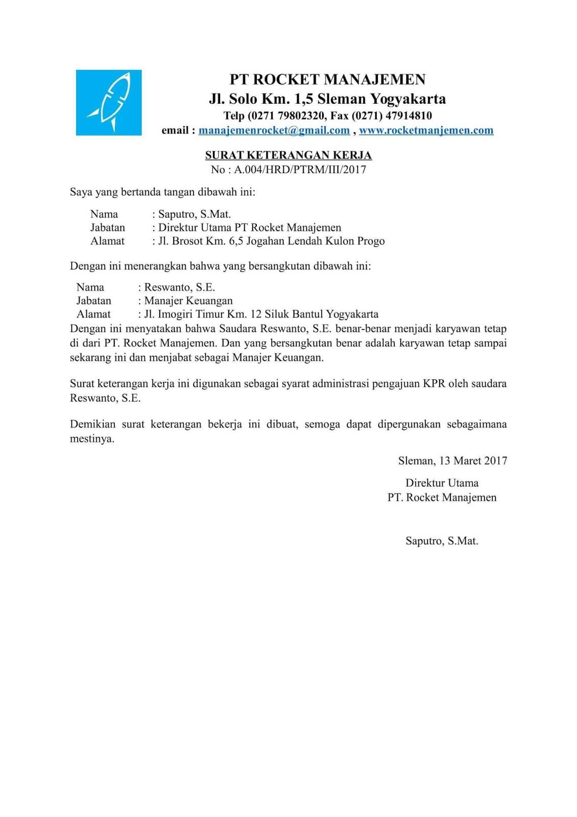 Contoh surat keterangan karyawan contohsuratmu contoh surat keterangan kerja untuk kpr thecheapjerseys Image collections