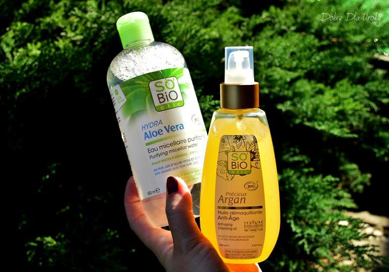 SO BIO Oczyszczająca i matująca woda micelarna z aloesem i Przeciwzmarszczkowy olejek arganowy do mycia i demakijażu