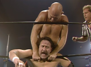 NWA Great American Bash 1986 (Greensboro, July 26th) - Baron Von Rashke chokes Manny Fernandez