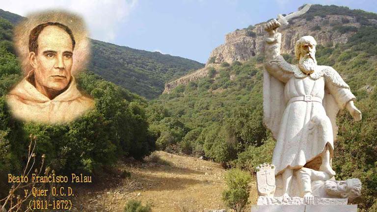 Estátua de Santo Elias e Beato Palau. Fundo Monte Carmelo