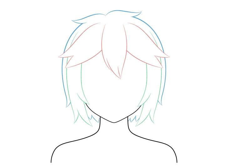 Menggambar Rambut Anime Pendek Berantakan