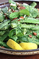 Romano Bean & Snap Pea Salad with Arugula Mint Pesto