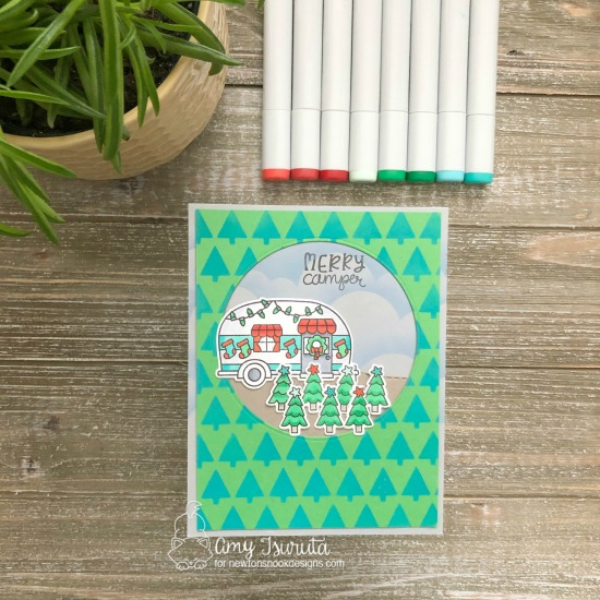 Merry Camper | Mobile Camper decorated for Christmas card by Amy Tsuruta | Christmas Campers Stamp Set, Tiny Trees Stencil and Clouds Stencil by Newton's Nook Designs #newtonsnook #handmade