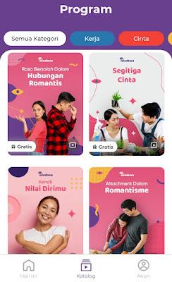contoh program di aplikasi Mindtera untuk kategori cinta