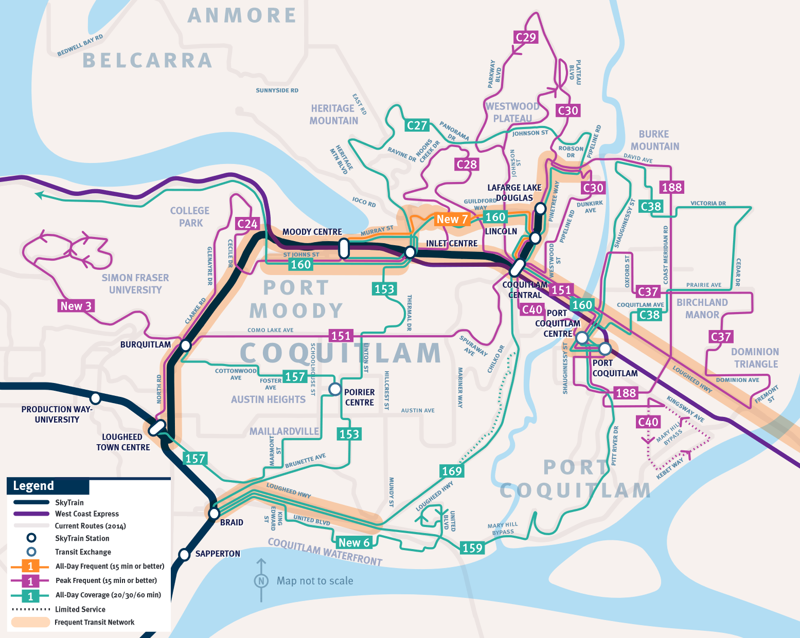 Evergreen Line Map The South Fraser Blog: What the Evergreen Line will do to bus  Evergreen Line Map