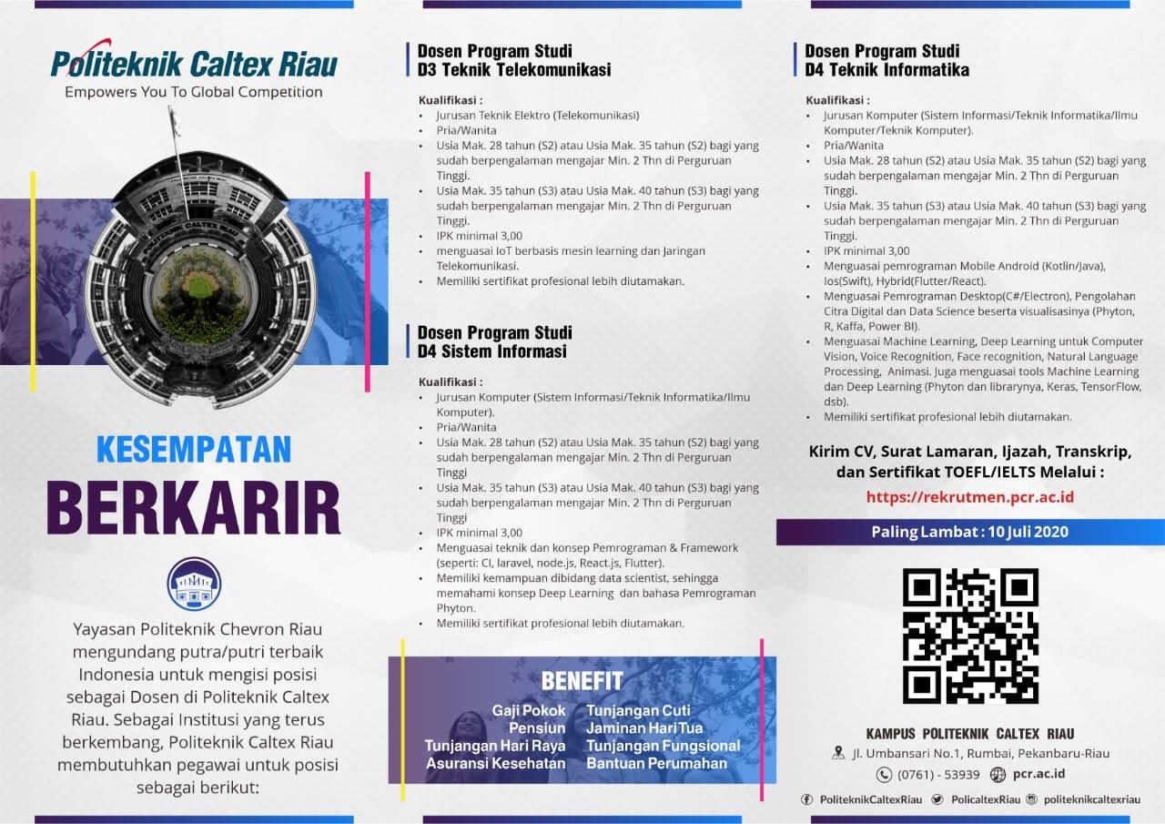 Lowongan Dosen Politeknik Caltex Riau