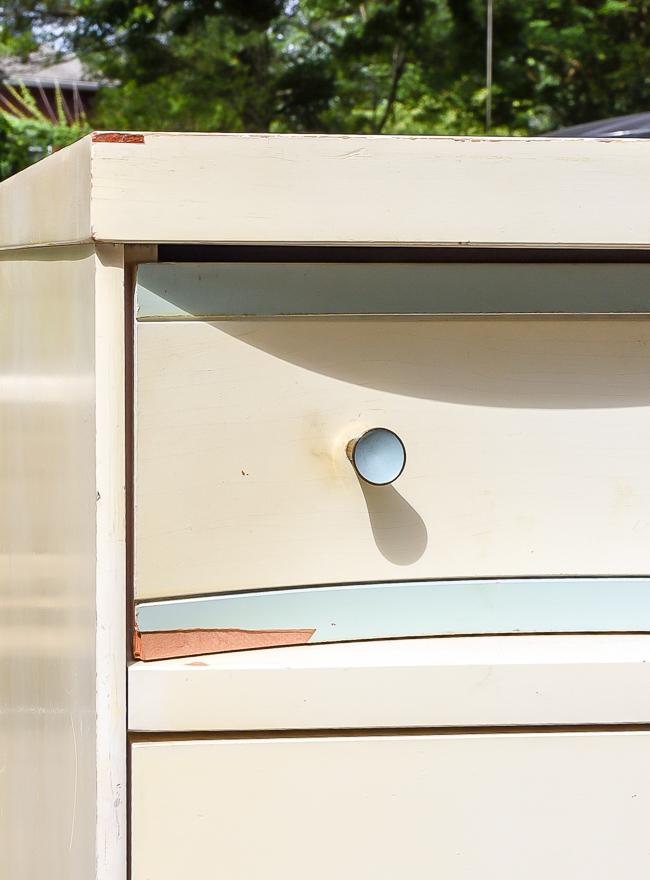 damage to mid century modern bassett dresser