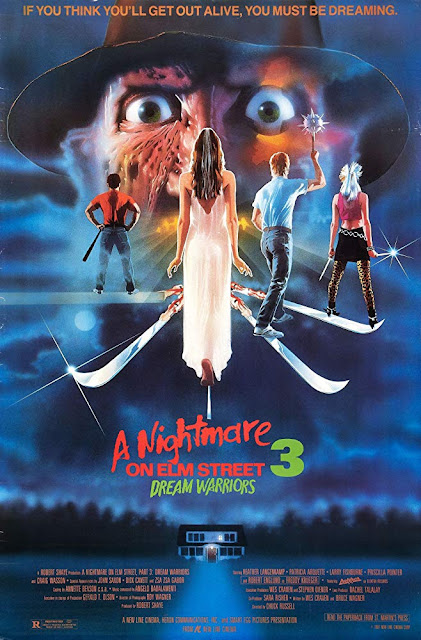 Movie poster for New Line Cinema's 1987 horror film A Nightmare on Elm Street 3: Dream Warriors, starring Patricia Arquette, Robert Englund, Heather Lagenkamp, Laurence Fishburne, Craig Wasson, Ken Sagoes, Rodney Eastman, and Jennifer Rubin