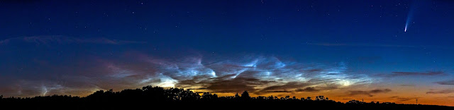 NLC panorama with Comet NEOWISE