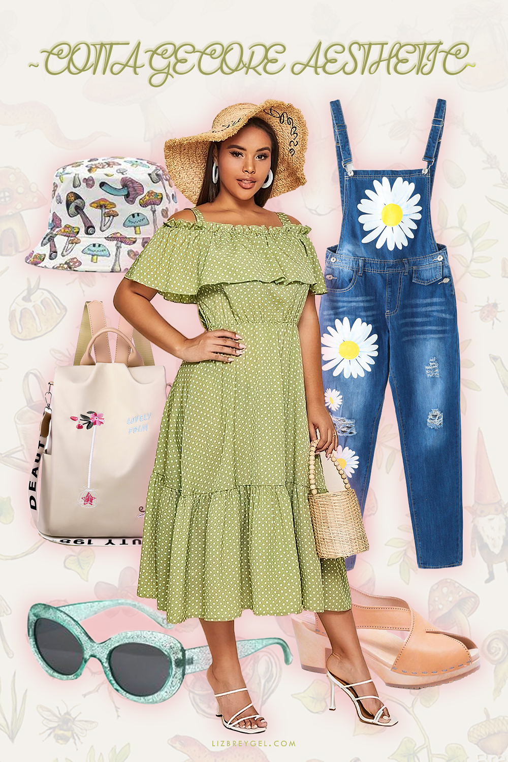 creative collage with women cottagecore fashion