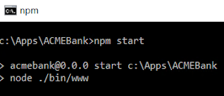 Starting expressJS in command line