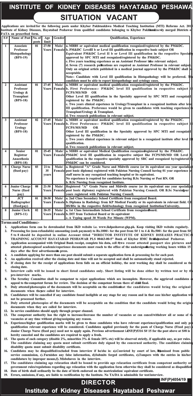 Institute of Kidney Diseases Hayatabad Peshawar Jobs 2019