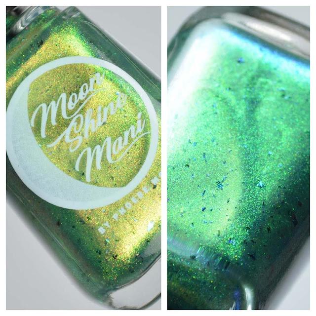 green shimmer nail polish in a bottle