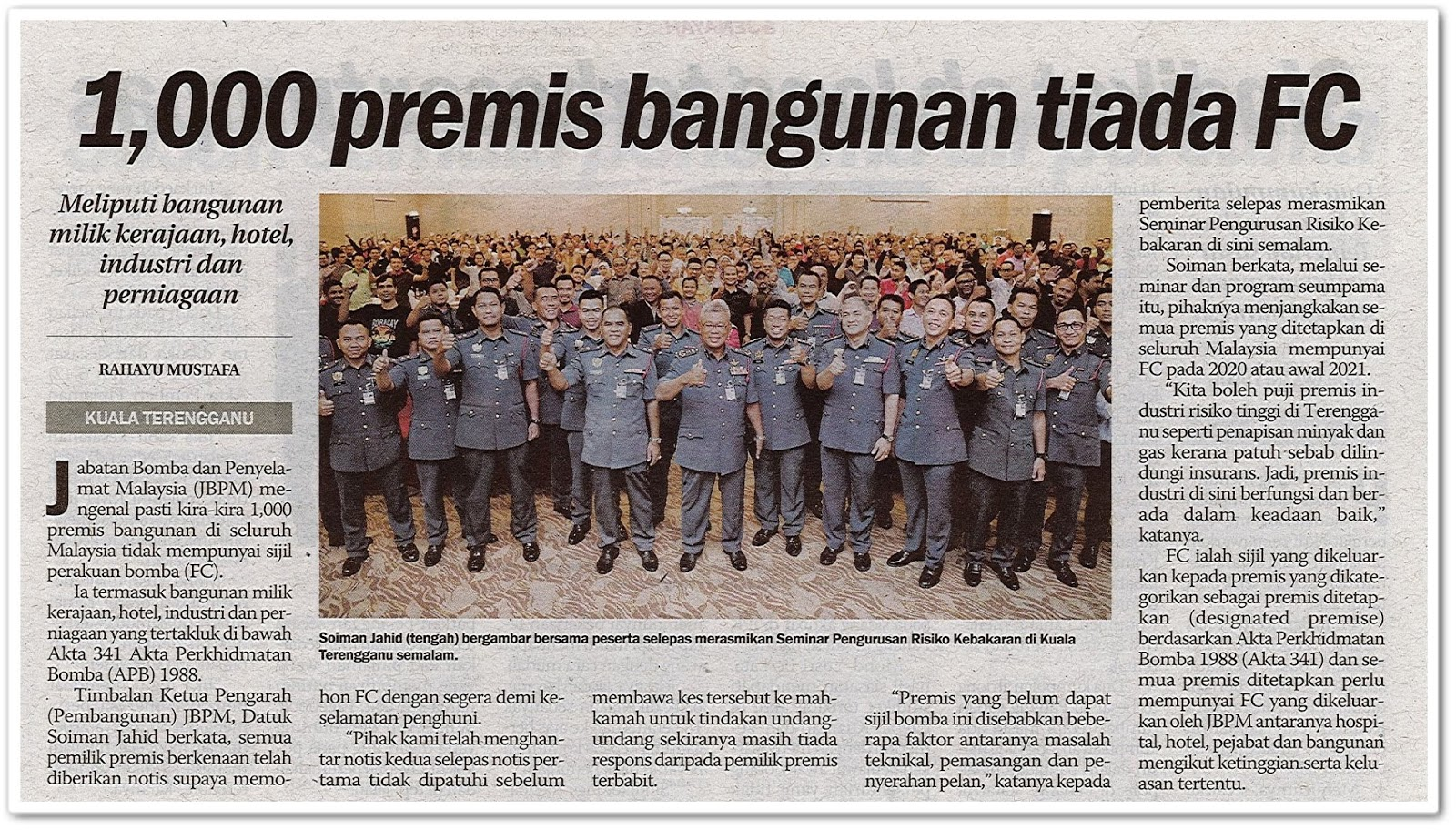 1,000 premis bangunan tiada FC - Keratan akhbar Sinar Harian 5 November 2019