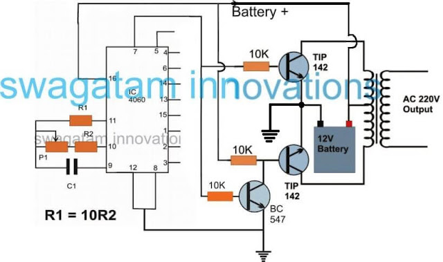 simple inverter using IC 4060 timer