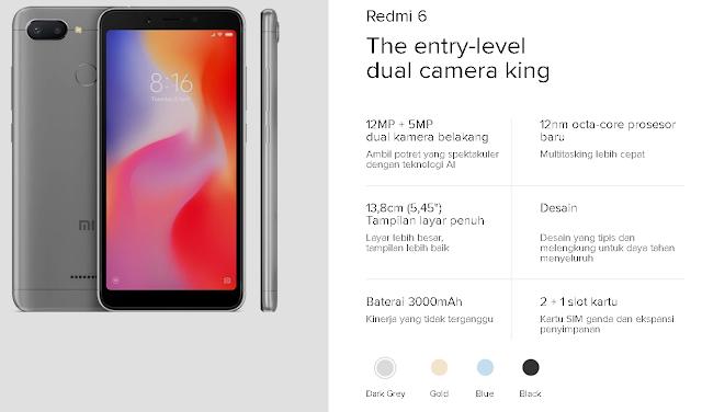 Xiaomi Redmi 6 HP RAM 4GB Terbaik dengan Harga 2 Jutaan