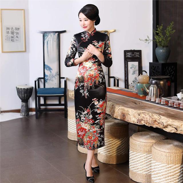 Long Sleeve Cheongsam Long Qipao Dresses