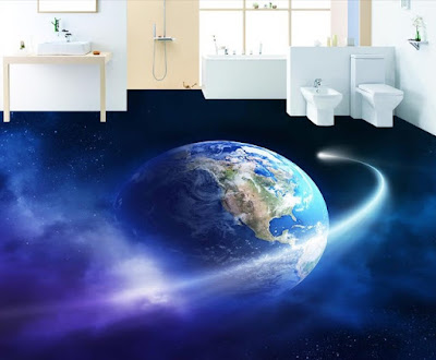 3d floor design ideas for bathroom with earth, double vanities, and dark blue sky