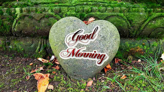 Beautiful good morning image with heart shape stone