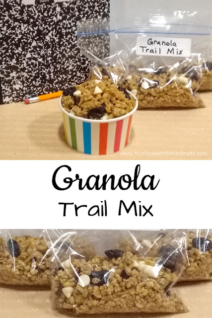 Granola Trail Mix - Home Sweet Homestead - #ad #BacktoSchoolTreats #SweetsSquad - Granola Trail Mix is packed full of flavor and  wholesome goodness, and is the perfect after-school snack for tired and hungry children.