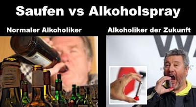Alkoholspray gegen normales saufen lustig
