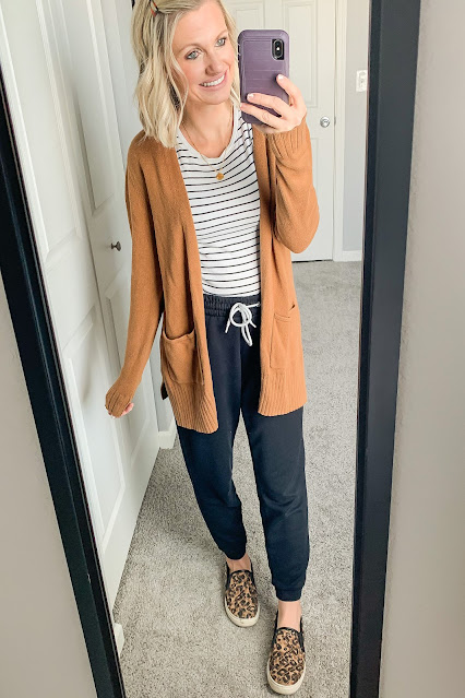 Comfortable jogger outfit with striped shirt