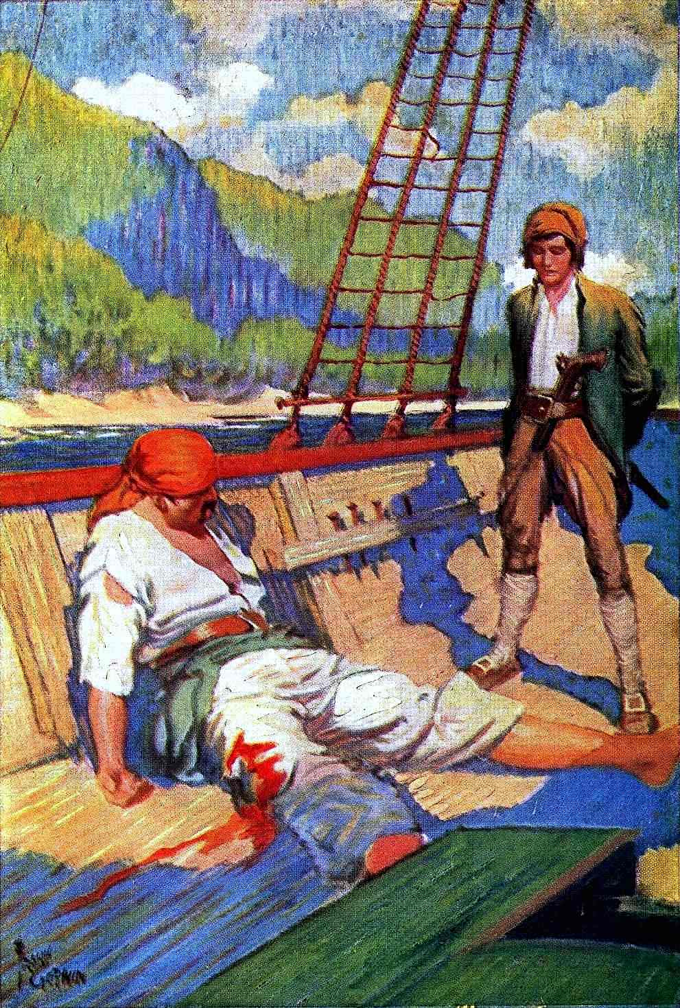 a Frank Godwin book illustration, guarding a wounded pirate