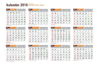 GRATIS 100% : Download Kalender 2016 Masehi + Hijiriah +Jawa format CDR