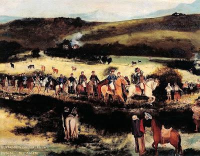 Simón Bolívar y Francisco de Paula Santander en el camino a Boyacá.