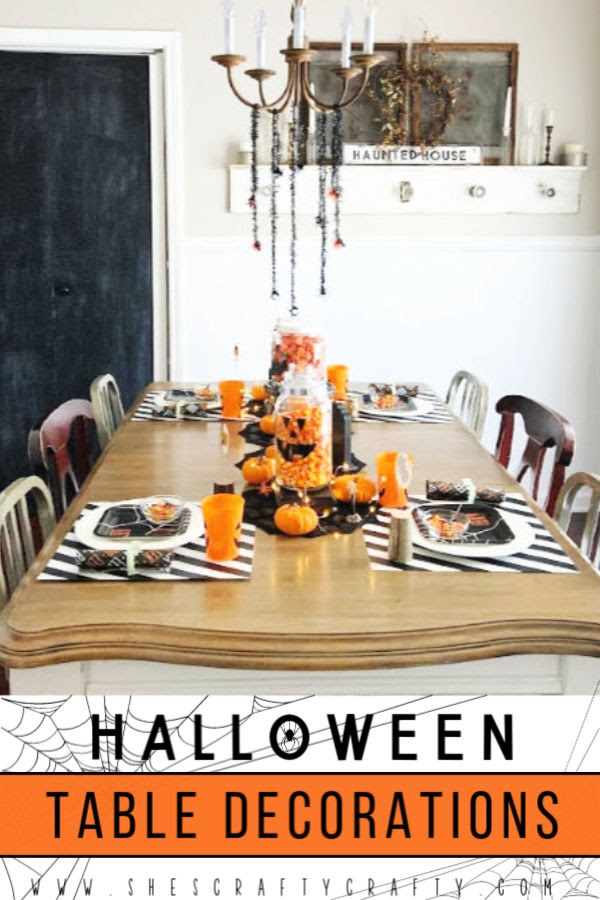 Halloween Table Decorations - set your table with some spooky fun with these ideas for centerpieces, place settings and place cards