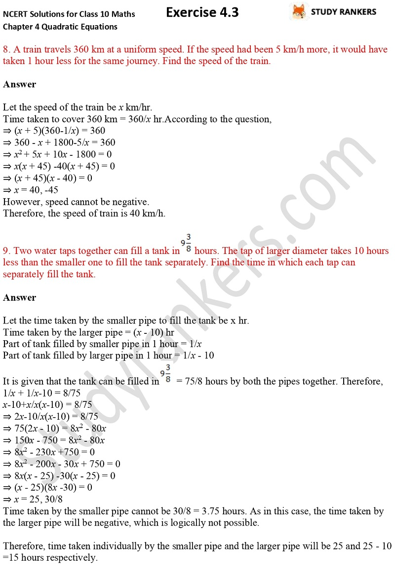 NCERT Solutions for Class 10 Maths Chapter 4 Quadratic Equations Exercise 4.3 Part 6