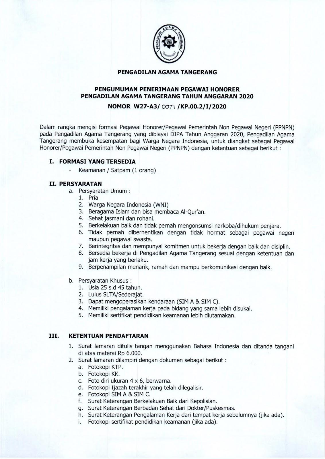 Lowongan Kerja Pegawai Non PNS Pengadilan Agama Tangerang Bulan Januari 2020