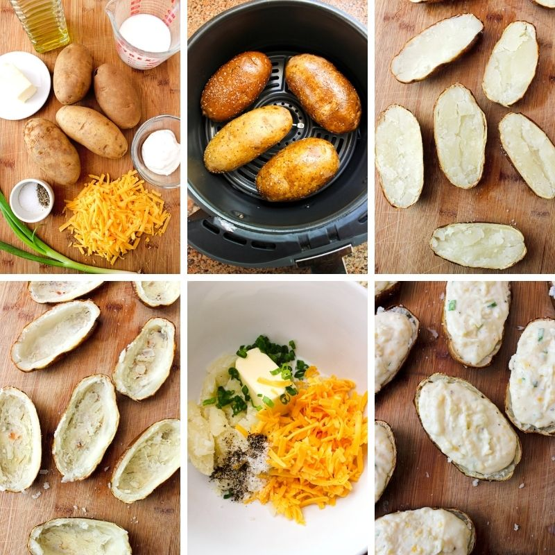 Collage of images of Air Fryer Twice Baked Potatoes being made.