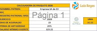 Calculadora de Finiquitos indeminzaciones 2020 en Excel