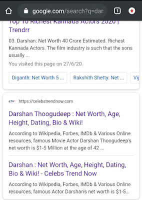 Darshan Net Worth Search Result