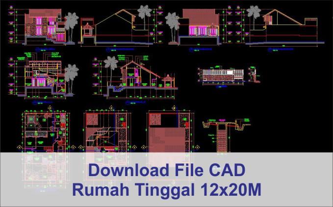 download rumah 12x20 File AutoCad