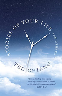 "The hands of a clock float surrounded by ""STORIES OF YOUR LIFE AND OTHERS"" with ""TED CHIANG"" on the bottom edge, suggesting a clock."