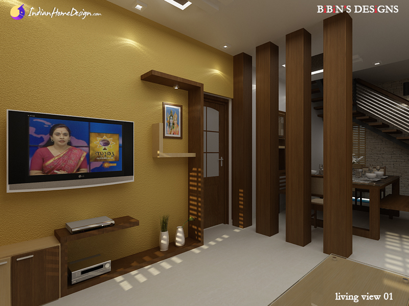 Modern Living room with wooden partition design ideas by Bibin Balan