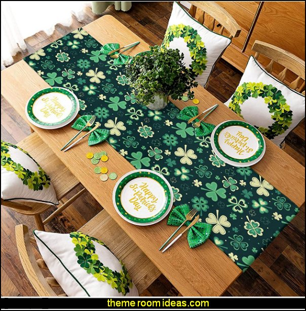 St. Patricks Day Lucky Shamrock Table Runners St. Patricks  party decorations