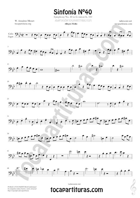 Hoja 1  Violonchelo y Fagot Partitura de Sinfonía Nº 40 Sheet Music for Cello and Bassoon Music Scores PDF y MIDI aquí