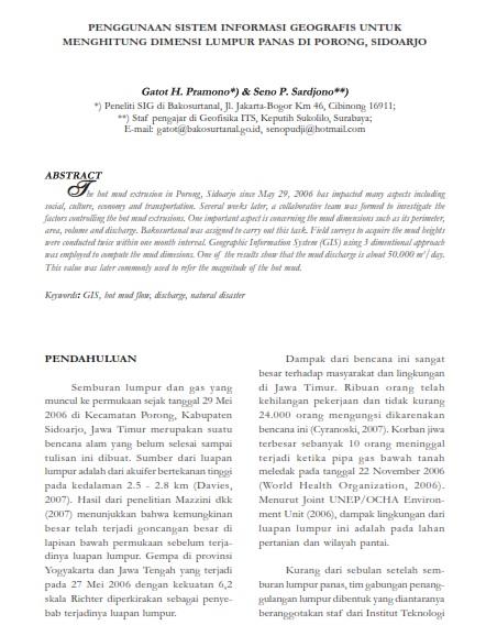 Penggunaan SIG untuk Menghitung Dimensi Lumpur Panas di Porong [Paper]
