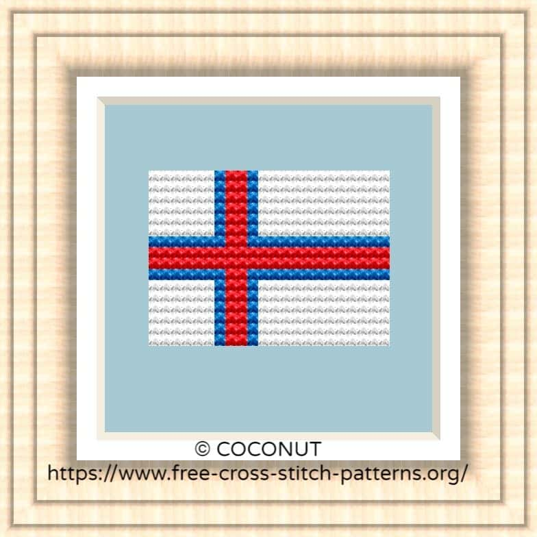 NATIONAL FLAG OF FAROE ISLANDS CROSS STITCH CHART