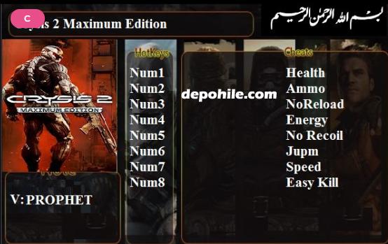 Crysis 2 Maximum Edition Enerji, Sekmeme +8 Trainer Hilesi İndir