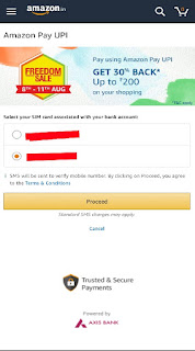 Amazon pay upi cashback sim select