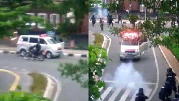 Polisi: Ambulans yang Coba Tabrak Petugas Diduga Pasok Batu ke Pendemo