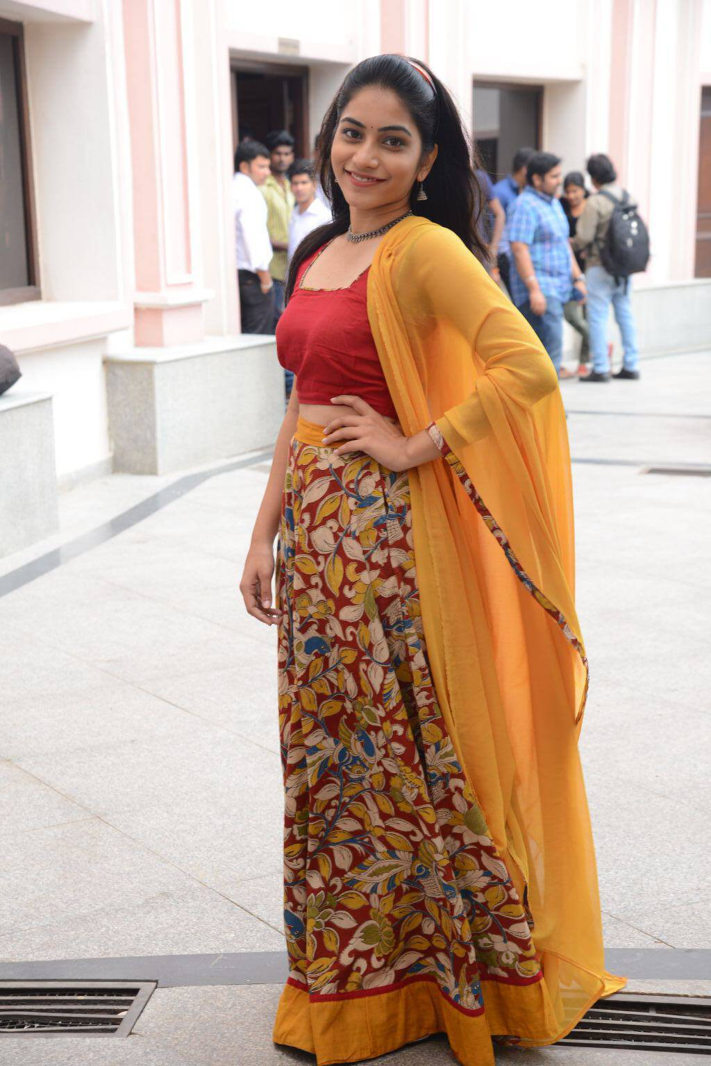 Tollywood Actress Punarnavi Stills In Red Langa Voni